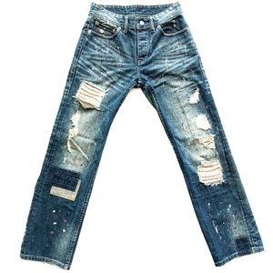 Armani Exchange Distressed Patched Jeans